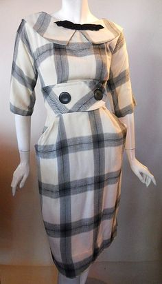 Uber-Joan-Hollway! Soft creamy white and black brushed cotton plaid 60s dress with demure bow at notched collar and wide, button trimmed wais