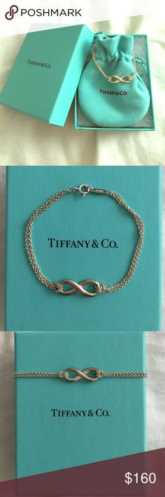 Tiffany&Co. Infinity symbol bracelet Tiffany infinity is a powerful symbol of continuous connection, energy and vitality. In addition of endless looped double chains echoes the infinite nature of the design. 925 Sterling silver, bracelet comes with dust bag and box. Tiffany & Co. Jewelry Bracelets