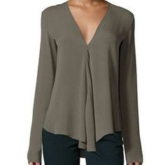 Shop Army Green V Neck Long Sleeve Loose Blouse online. SheIn offers Army Green V Neck Long Sleeve Loose Blouse & more to fit your fashionable needs. Cute Blouses, Plus Size Blouses, Shirt Blouses, Blouses For Women, Ladies Blouses, Women's Shirts, Cheap Blouses, Chiffon Shirt, Chiffon Fabric