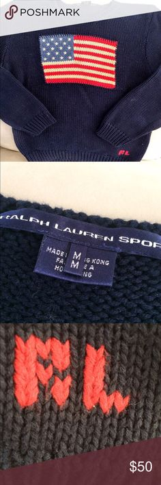 Polo flag sweater Ralph Lauren sport women's classic flag design sweater in navy, Sz M.  Soft hand knit in great vintage condition, 3/4 length sleeves. This is a rare find! Polo by Ralph Lauren Sweaters Crew & Scoop Necks