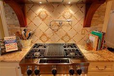 Ceramic tile backsplash by Kemper Design. #housetrends http://www.housetrends.com/specialist/Kemper-Design-Louisville-Tile-company