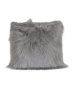 Loving this Gray Faux Fur Throw Pillow on #zulily! #zulilyfinds
