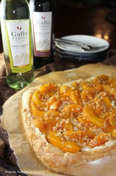 Peach Maple Mascarpone Dessert Pizza. A simple recipe that makes a perfect sweet end to any meal.  #SundaySupper #GalloFamily - Whole Food | Real Families