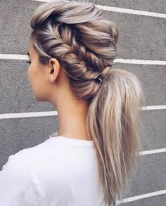 Beautiful Braid and ponytail Hairstyle , fishtail braided ponytail Beautiful Braid and ponytail Hairstyles For A Romantic Bride - Textured updo, updo wedding hairstyles,updo hairstyles,messy updos Braided Ponytail Hairstyles, Up Hairstyles, Wedding Hairstyles, Ponytail Updo, Hairstyle Ideas, Mohawk Updo, Ponytail Ideas, Blonde Ponytail, Perfect Hairstyle