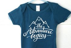 New Baby The Adventure Begins Mountain Onesie, Newborn Clothes, Hipster Baby Clothes, Baby Shower Gifts, Coming Home Baby Outfit