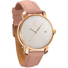 Mvmt Watches Rose Gold/Peach leather Watch ($115) ❤ liked on Polyvore featuring jewelry, watches, accessories, leather watches, red gold jewelry, leather wrist watch, rose gold jewelry and leather jewelry