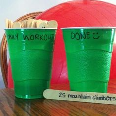 Awesome idea from Debbie Hinton fitness  Neat idea to keep things fresh! Beginners: you might like this too! Gives you a weekly goal, no thinking required.     Tons of ways to incorporate this into a workout; you can draw 5 sticks and repeat the exercises in a circuit for 3-5 rounds. You can place the cup at the end of a field, run, grab a stick, do the exercise and repeat. You can play with a friend and alternate drawing exercises until the cup is empty. Anything goes!