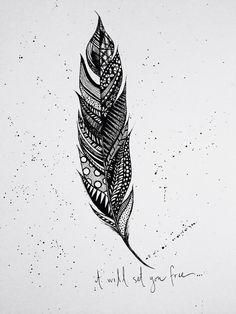Feather Illustration Print on Etsy, $15.00                              …