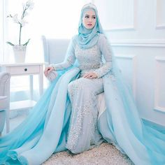Beautiful blue wedding dress @leeyanarahman.co