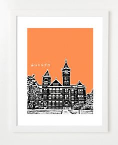 Auburn University Samford Hall Poster - Auburn Tigers -Auburn Alabama City Skyline Art Print. $20.00, via Etsy.