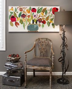 Leona Piro of act two home staging uses a Rachel Cordaro painting to decorate!