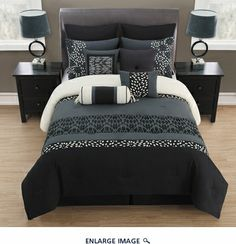 10 Piece Queen Veeda Black and Gray Comforter Set