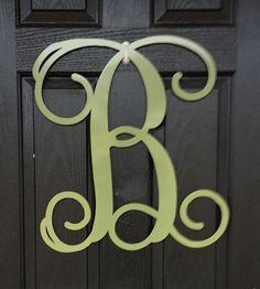 """Metal  Monogram door hanger wreath- 25+ color choices- 12"""""""