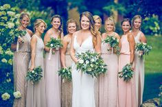 How stunning are these mix-matched dresses? Shop beaded bridesmaid dresses at Adrianna Papell as seen in BRIDES magazine. Hometown Ohio Vineyard Wedding, Bride with Bridesmaids in Mismatched Dresses