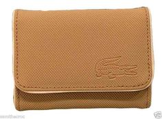 Authentic Lacoste Ladies Girls Coin / Card Purse Classic 4 Caramel
