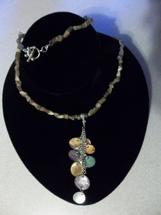 Cats Eye stone necklace with long dangling by RoseFireDesigns, $40.00