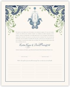 Paisley Seahorse Wedding Certificate