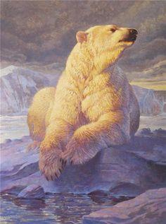 Ezra Tucker - Calm Before the Storm Wildlife Paintings, Wildlife Art, Animal Paintings, Save The Polar Bears, Animals Beautiful, Cute Animals, Bear Totem, Bear Art, Animal Totems