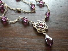 Silver and Plum Pentacle Necklace by AutumnDamiana on Etsy, $25.00