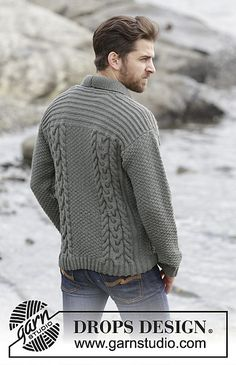 "Knitted DROPS men's jacket with cables and shawl collar in ""Lima"""