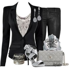 Black & Silver, created by stephiebees on Polyvore
