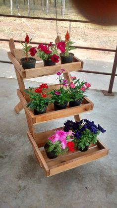 Floreira Jardim Vertical Cachepô De Madeira - R$ 139,90 no MercadoLivre