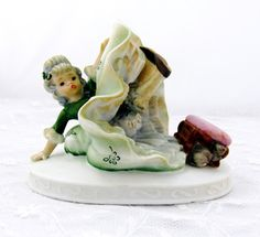 Vintage Lefton 1950's China Figurine Hand Painted Exclusives KW 1234 Mouse Scaring Girl Falling Off Stool  Collectible Gift   Item 1427