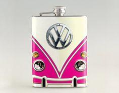 Etsy listing at https://www.etsy.com/listing/171987357/volkswagen-classic-van-pink-liquor-hip