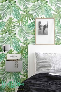 Transform any room in your home into an exotic paradise with this self-adhesive vinyl monstera leaves pattern removable wallpaper!