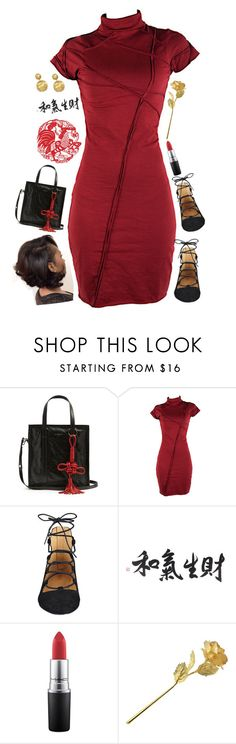 """""""Happy Chinese New Year ! [Chinese Inspired Outfit]"""" by love-rebelwolf ❤ liked on Polyvore featuring Balenciaga, Nine West, MAC Cosmetics and Marco Bicego"""