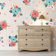 Urban walls wall decals- An assortment of pink, teal, and coral coloured flower decals on a beige wall behind a dresser. Girls Bedroom, Bedroom Decor, Coral Bedroom, Dream Bedroom, Bedroom Ideas, Wall Decor, Teal Coral, Coral Color, Flower Wall Decals