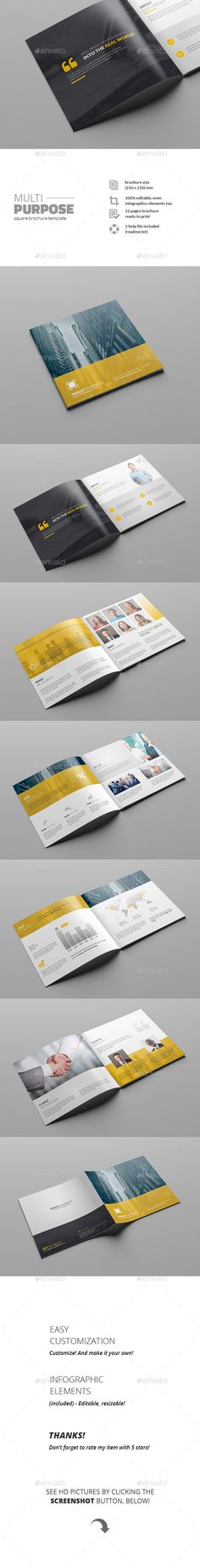 Multipurpose Square Brochure — Photoshop PSD #print #booklet • Available here → https://graphicriver.net/item/multipurpose-square-brochure/11641822?ref=pxcr