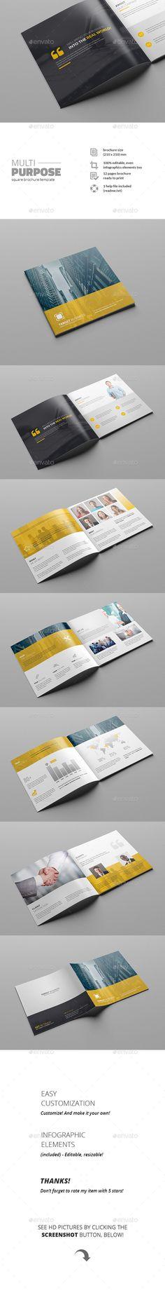 Multipurpose Square Brochure Template #design Download: http://graphicriver.net/item/multipurpose-square-brochure/11641822?ref=ksioks