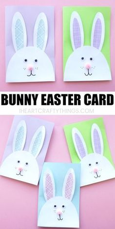 We have the most adorable DIY Easter Card to share with you today. This cute bunny card is especially easy to make with the help of our downloadable template. It makes a great afternoon Easter craft and is sure to delight anyone who receives it as a cute DIY Easter Card. #eastercrafts #bunny #papercraft #papercrafting #easterbunny #iheartcraftythings