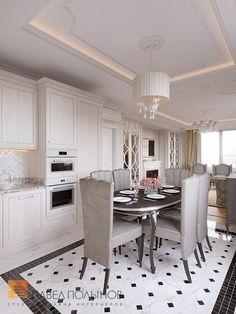 Фото дизайн кухни-гостиной из проекта «Дизайн трехкомнатной квартиры 100 кв.м. в стиле неоклассики, ЖК «Смольный парк»»