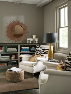A living room painted in Benjamin Moore's neutral color called Sparrow.