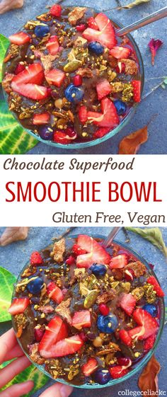 Craving a healthy breakfast? This gluten free and vegan smoothie bowl is perfect for you. Although this chocolate smoothie bowl tastes like dessert, it's actually loaded with hidden veggies and superfoods. A healthy smoothie bowl has never tasted so decadent!    Find the full vegan and gluten free smoothie recipe here: http://caseythecollegeceliac.blogspot.com/2017/06/gluten-free-superfood-chocolate-smoothie-bowl.html