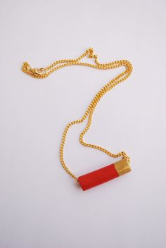 Red and Gold Clay Bullet Necklace