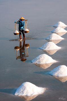Salt Worker in Hon Khoi, Vietnam