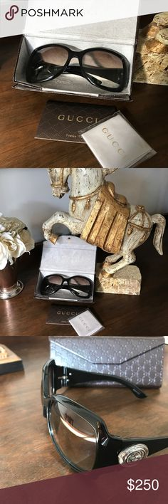 Gucci sunglasses with case Sophisticated and chic authentic Gucci sunnies with GG case, cleaning cloth, and authenticity card. Oversized GG logo is highlighted on each side. Some rubbing and small scratches in lenses but doesn't affect wear. These would be perfect with prescription lenses added. Gucci Accessories Sunglasses