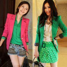 Envío gratis de primavera 2014 nuevo estilo de la moda las mujeres traje de negocios chaquetas verdes dulces/rosa/puntos rojos shurg puños botón uno blazers