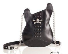 Monedero de cuero. Bolso sostenible Eco a mano negra. Guitarra