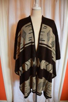 Black, Brown & Tan Aztec Print Cape | no sleeve | Primary View | Tangerine Boutique