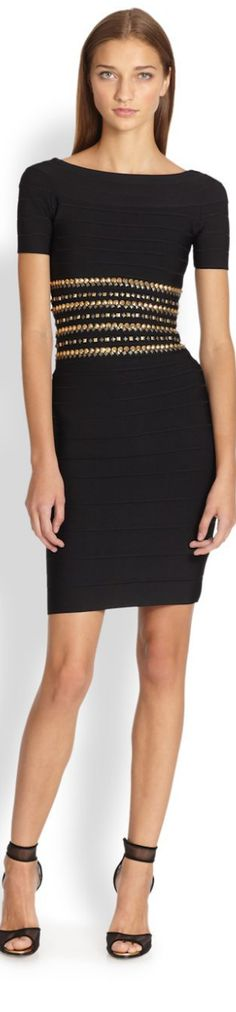Herve Leger ● Studded Body-Con Dress