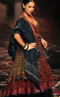 India Fashion Week. indigo. blockprint. Sabyasachi