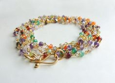 Arista Necklace with Mixed SemiPrecious Stones Long layering Wrap Bracelet Summer Fashion