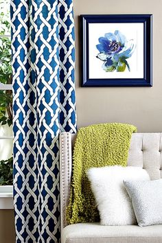 Everything is from HomeGoods! We love textured pillows and patterned curtains. #HomeGoodsHappy | Decor | get inspired on our blog