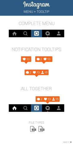 Instagram Menu and Notification Tooltip on Behance