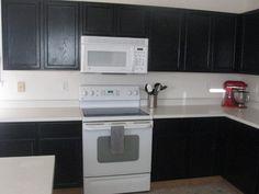 black cabinets white appliances Cottage I was thinking white