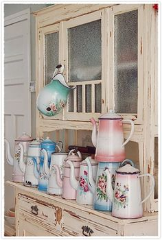 Great collection of old coffee pots